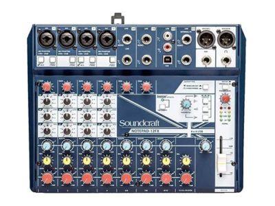 Soundcraft Notepad-12FX アナログミキサーで接続したマイクの音量が小さい、音割れする等の問題があり諸々確認中